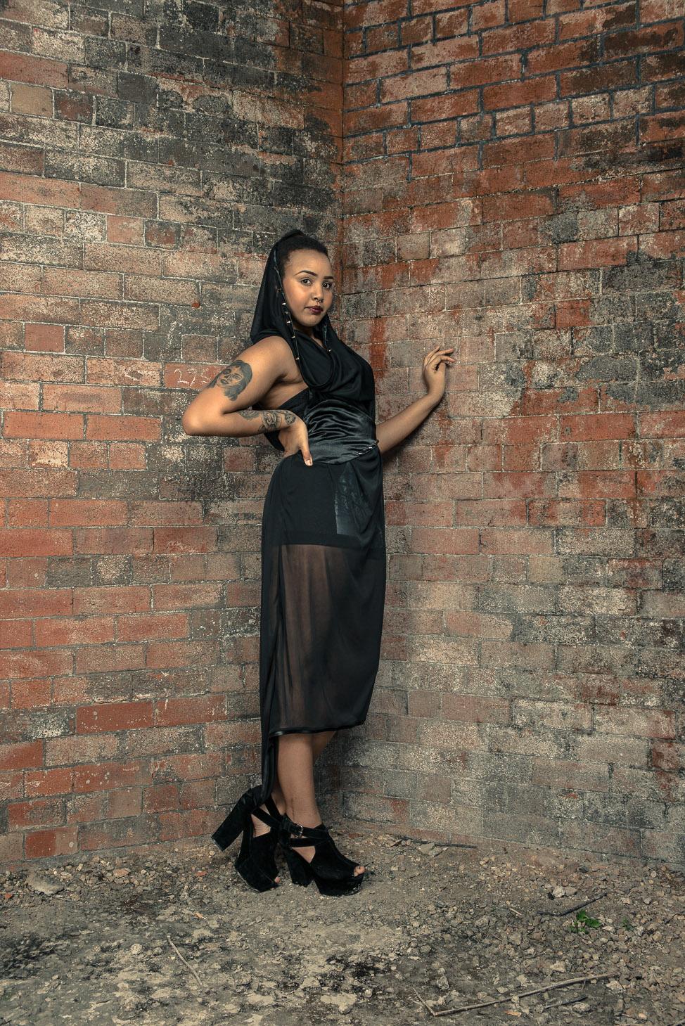 zaramia-ava-zaramiaava-leeds-fashion-designer-ethical-sustainable-tailored-minimalist-sheer-versatile-drape-dress-black-hood-binding-belt-wrap-cowl-styling-bodysuit-womenswear-models-photoshoot-7