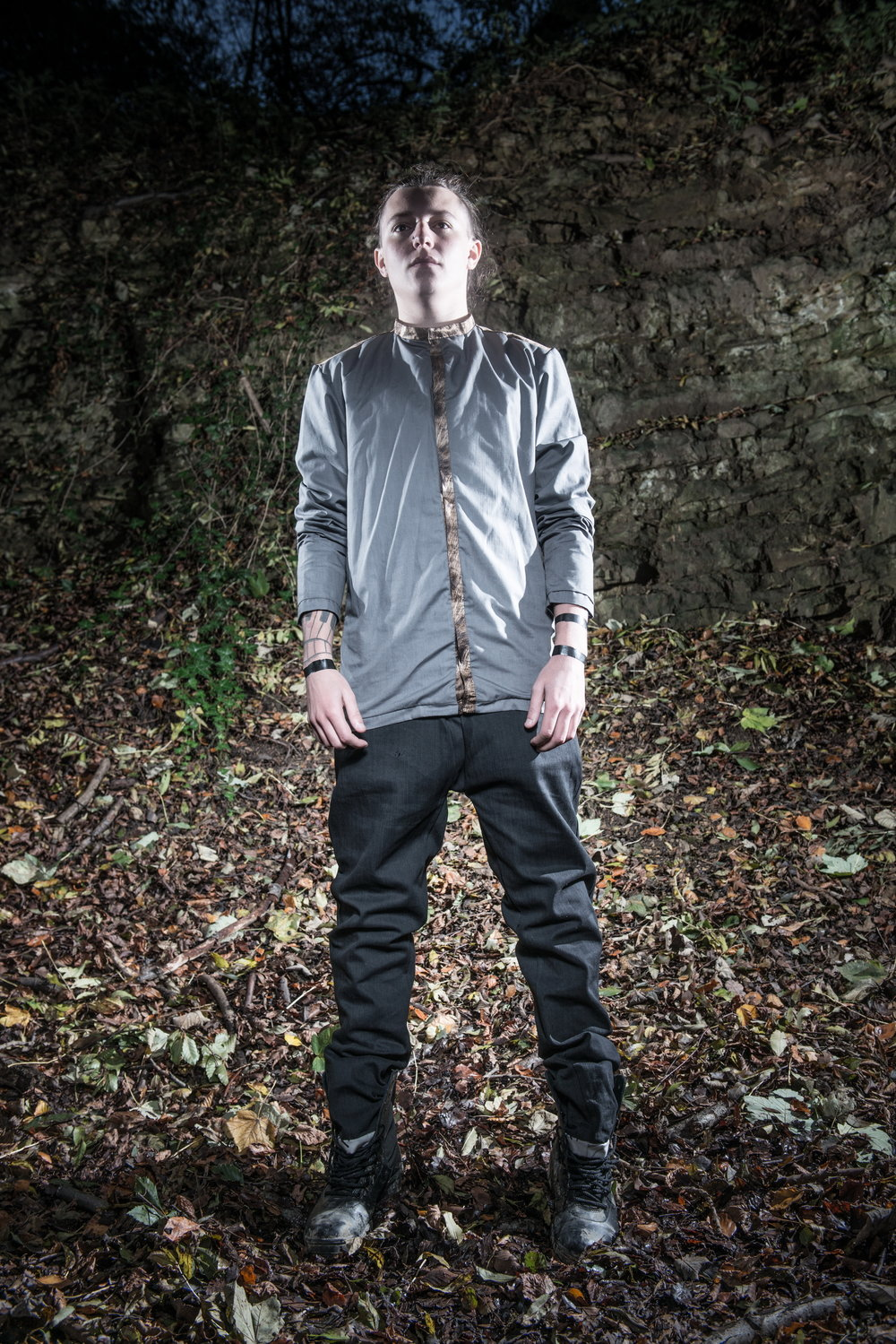 zaramia-ava-zaramiaava-leeds-fashion-designer-ethical-sustainable-tailored-minimalist-versatile-drape-grey-shirt-top-denim-trousers-black-grey-texture-styling-menswear-model-photoshoot-location-2