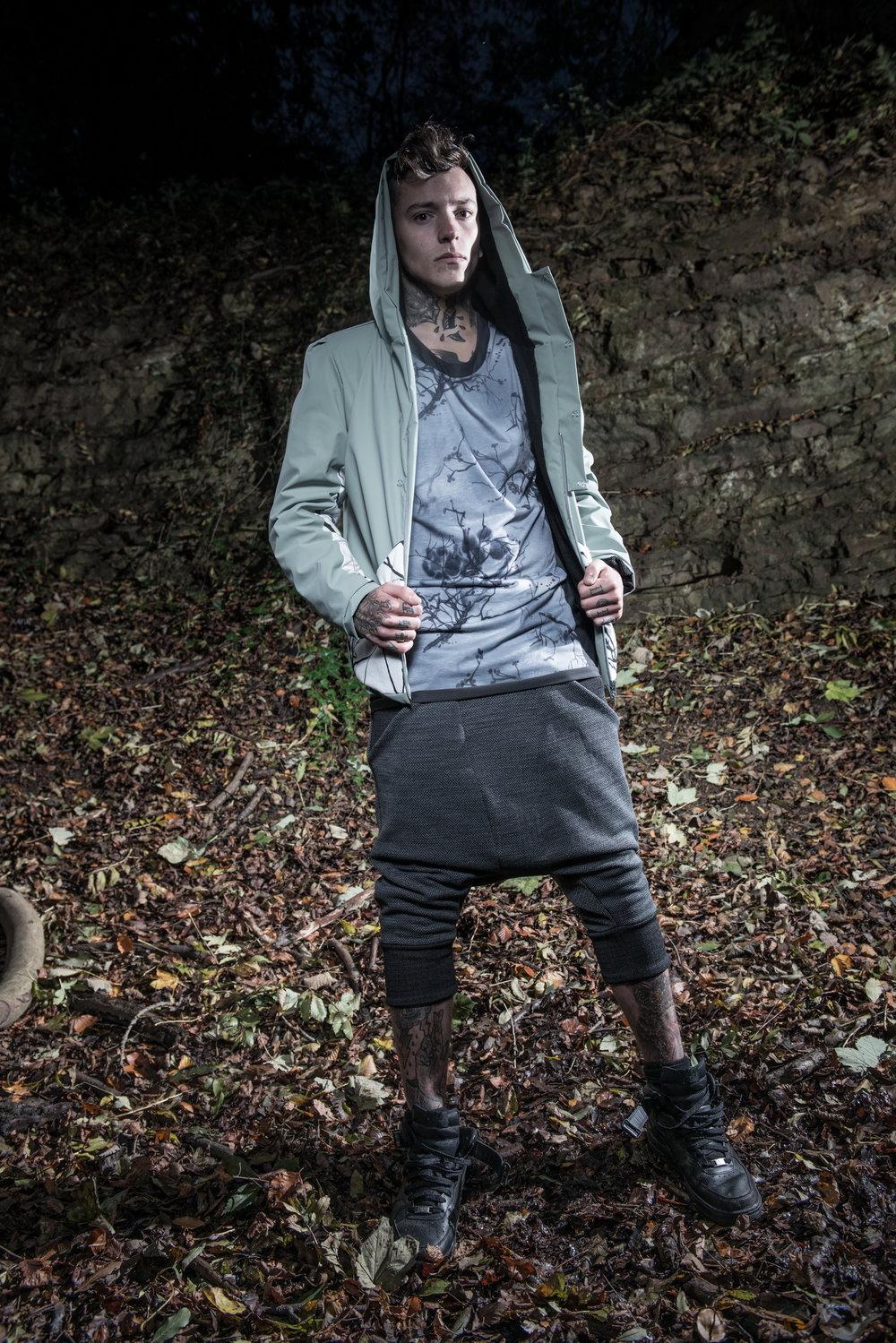 zaramia-ava-zaramiaava-leeds-fashion-designer-ethical-sustainable-tailored-minimalist-versatile-drape-grey-shirt-vest-top-coat-denim-trousers-black-grey-texture-styling-menswear-model--6