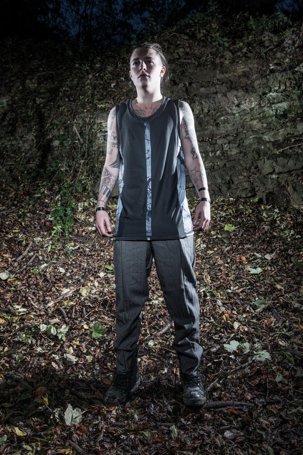 zaramia-ava-zaramiaava-leeds-fashion-designer-ethical-sustainable-tailored-minimalist-versatile-drape-grey-shirt-vest-top-denim-trousers-black-grey-texture-styling-menswear-model-photoshoot-location-5