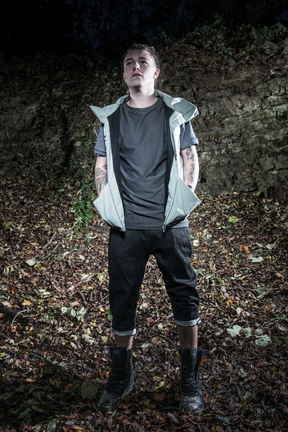 zaramia-ava-zaramiaava-leeds-fashion-designer-ethical-sustainable-tailored-minimalist-versatile-drape-grey-shirt-vest-top-denim-trousers-black-grey-texture-styling-menswear-model-photoshoot-location-9