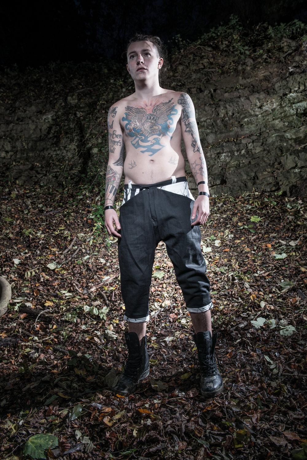 zaramia-ava-zaramiaava-leeds-fashion-designer-ethical-sustainable-tailored-minimalist-versatile-drape-grey-shirt-vest-top-denim-trousers-black-grey-texture-styling-menswear-model-photoshoot-11