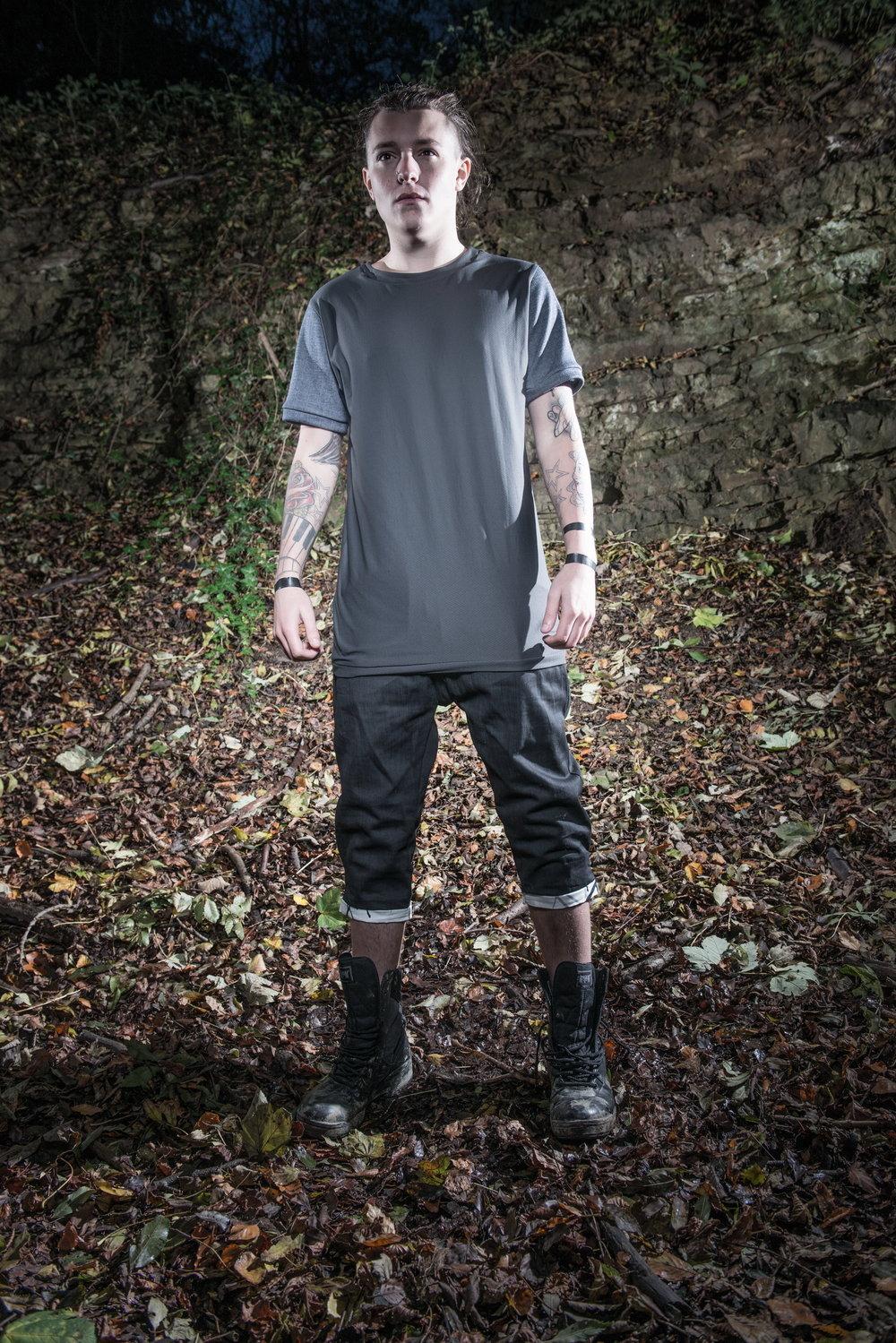 zaramia-ava-zaramiaava-leeds-fashion-designer-ethical-sustainable-tailored-minimalist-versatile-drape-grey-shirt-vest-top-denim-trousers-black-grey-texture-styling-menswear-model-photoshoot-10
