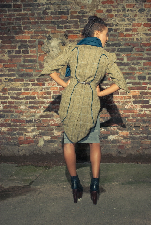 zaramia-ava-zaramiaava-leeds-fashion-designer-ethical-sustainable-tailored-minimalist-versatile-drape-teal-brown-coat-jacket-buckles-scarf-skirt-styling-womenswear-model-photoshoot--6