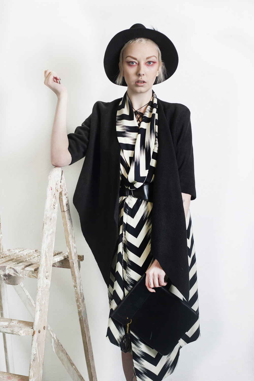 zaramia-ava-zaramiaava-leeds-fashion-designer-ethical-sustainable-tailored-minimalist-editorial-print-black-belt-dress-versatile-drape-cowl-styling-studio-womenswear-models-photoshoot-black-white-jacket-hat-monochrome-2.jpg
