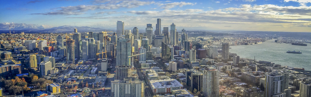 Seattle's skyline from on top of the Space Needle.
