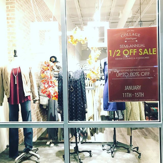 The Half Off Sale is here plus $19 & $29 racks! Starts tomorrow don't miss it!! #semiannualsale #biggestsale #eastcobbsnobs #eastcobb #eastcobbmoms #shopcollageatl