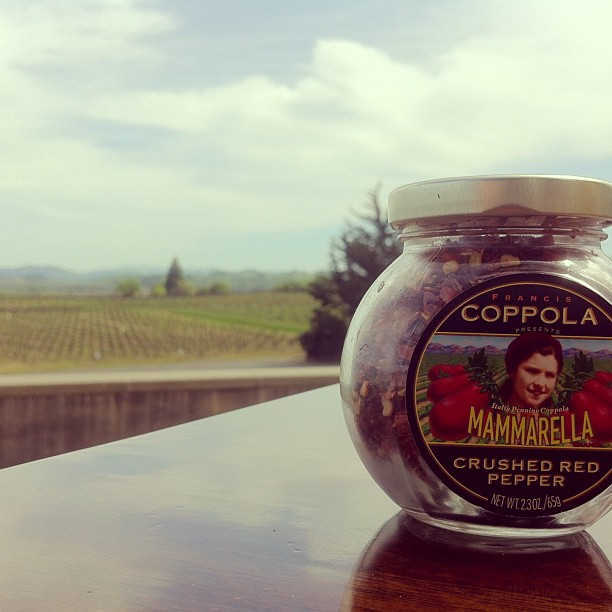 Crushed Red Pepper and a Field of Grapes (at Francis Ford Coppola Winery)