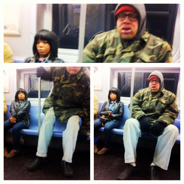 """May I take this seat?"" #biggiesmalls #blinddate  #subway #matchmaker #picstitch"