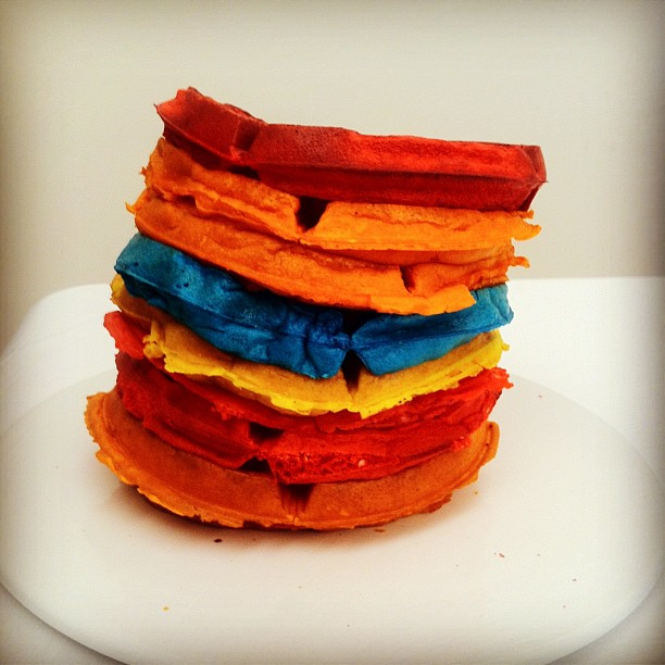 Multi-colored waffle stack.