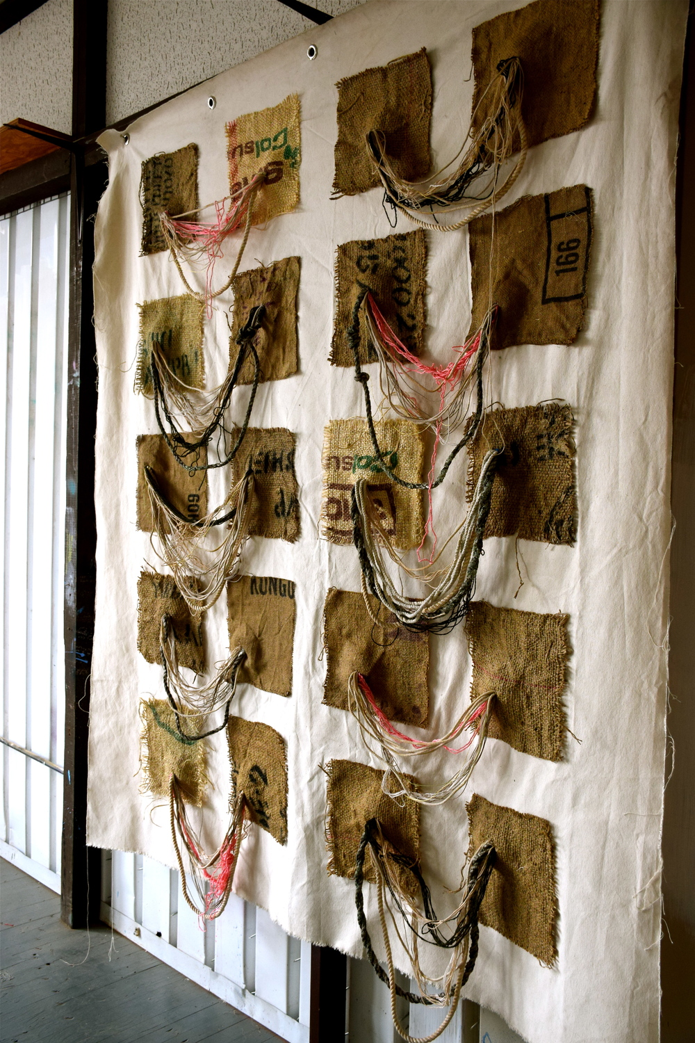 """Breast Ties"", string, yarn, wire, burlap, canvas, 2014"