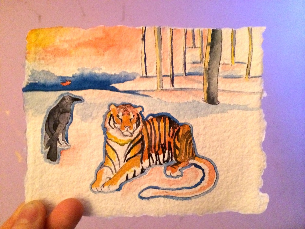 Raven & Young Tiger, Taiga Fire, Dawn.