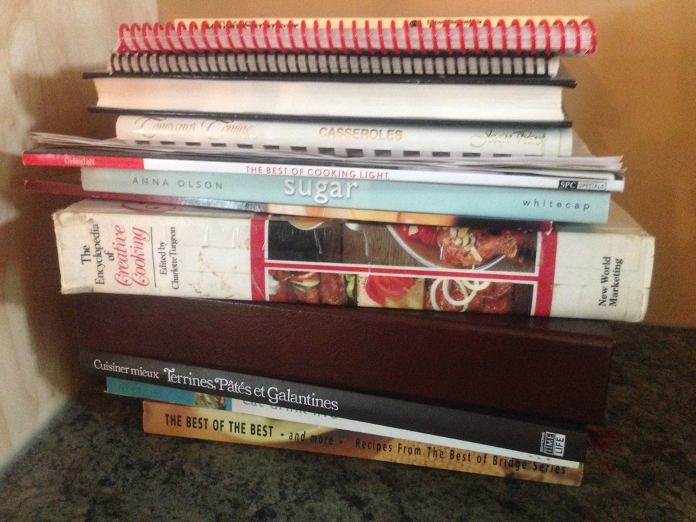 "I can't believe I kept so many cookbooks I never used. My mother's rule: only keep the ""sticky"" ones. They're the ones you're actually using. The ones with all the sticky notes I got rid of? Not one of them had a smudge on it."