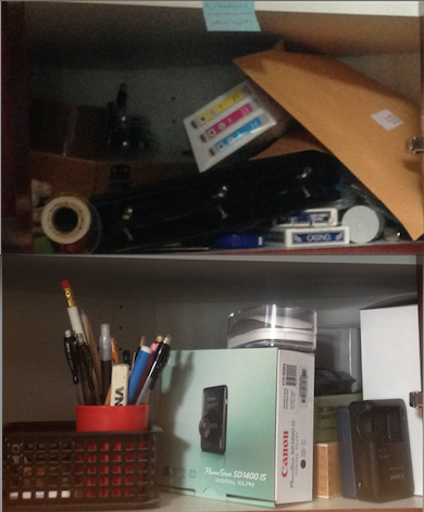 Before and after: Another office cabinet went from junky and disorganized to storage space for regularly-used items. No more hunting for pencils, cameras and computer peripherals.