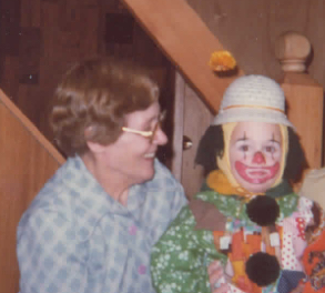 My grandmother witnessing my first Hallowe'en.
