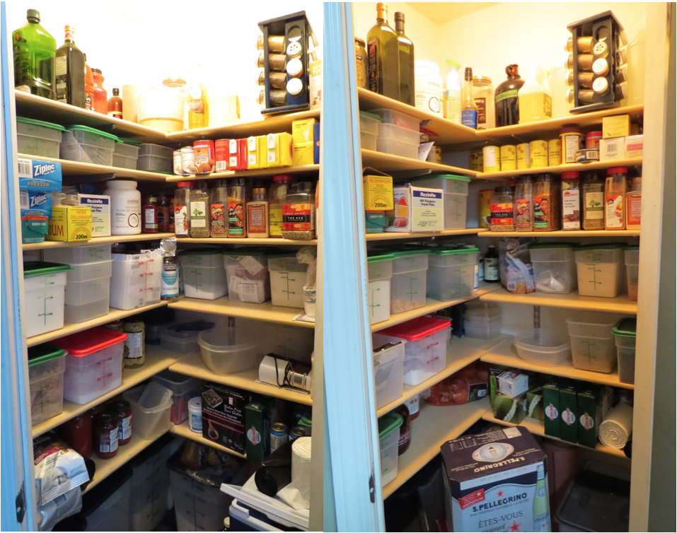 Here's the latest on the pantry. we've used up more canned goods, pasta, coffee, and spices and stocked up on tissues, dishwasher soap and carbonated water. More empty storage containers and shelf space, so we're moving in the right direction.