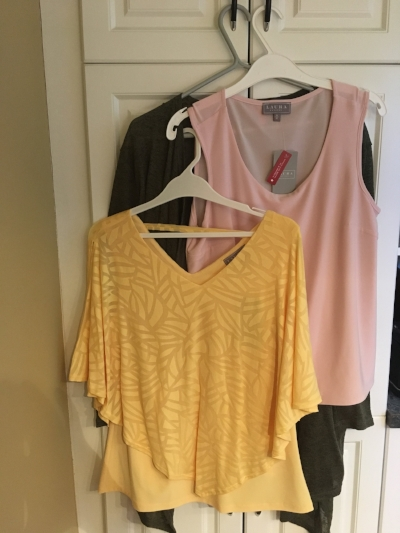 Two of the three tops and the long olive green light-weight cardigan in the background.