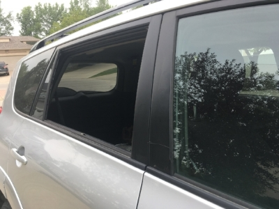I initially thought it was just the back window, but the individual(s) had tried to break the front passenger door by prying it open from the side, then did the same and successfully broke the back window, damaging other parts of the car in the process. Sheesh!