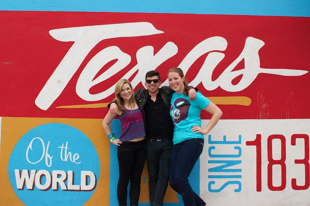 "me, Tyler and Laurel in front of the infamous ""Austin"" sign."