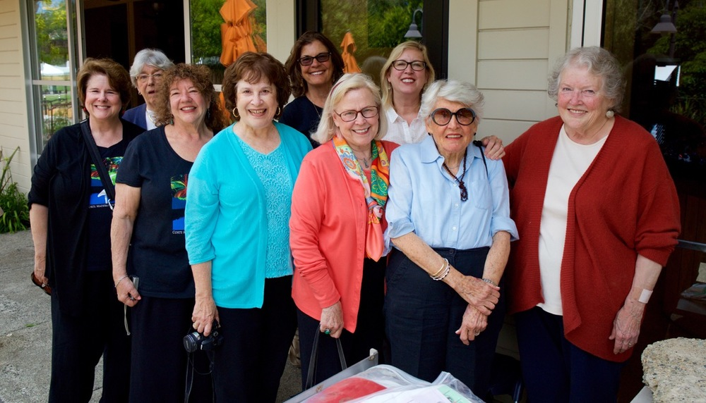 CELEBRATING THE OPENING OF THE 1991 TIME CAPSULE: (FRONT L-R) BECKY REED, PATI STOLIAR, CARLA CONDON, JUDY CREASY, CAROLYN LARSON, JANA HAEHL (BACK L-R) LIZ BYRD, SUZI BEATIE, DIANE FURST