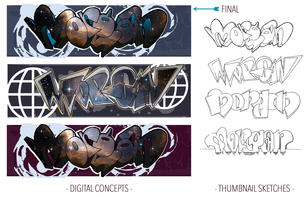 "Client wanted ""graffiti"" of last name ""Morgan"" with blue and purple.  Sketches and digital concepts."