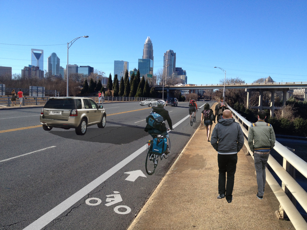 After : 7th Street bridge sidewalk widened and bike lane added = more safety and enjoyment for those not in a vehicle.