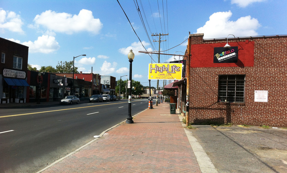 Before: Central Avenue in Plaza Midwood is home to some unique Charlotte shops. The street and sidewalk, however, lack character and spaces to linger and enjoy the street life of the neighborhood.