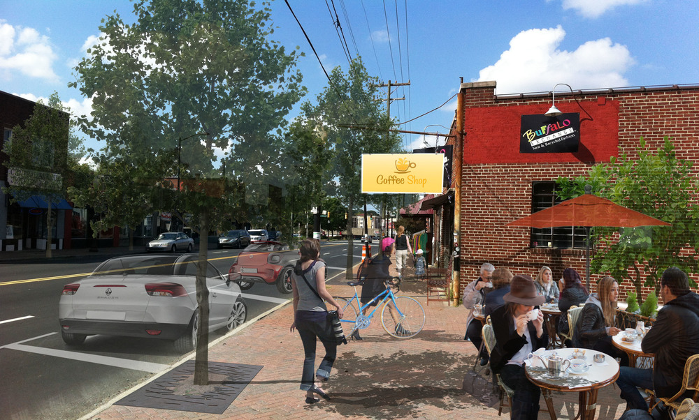 After:  Addition of street trees, off-peak-hour on-street parking, outdoor dining and benches transforms Central Avenue into inviting and safe place for residents and visitors.