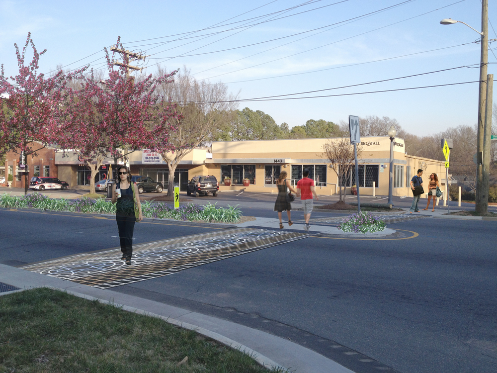 After: Add painted crosswalks, street trees, and spot medians to slow traffic and help pedestrians feel safer.