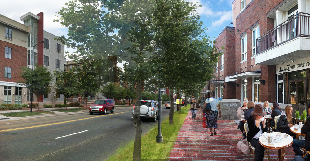 After:  Walkable mixed-use development closer to the street transforms South Blvd into a more desirable place