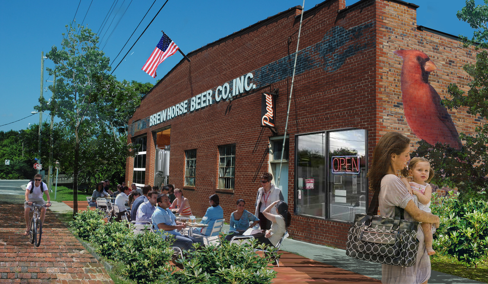 After:  Put sidewalk dining, public art, and new business on the street.  This concept for encouraging the adaptive reuse of older buildings by permitting breweries in certain parts of Wilmington, NC was submitted by Allen Davis, an urban designer for Wilmington.