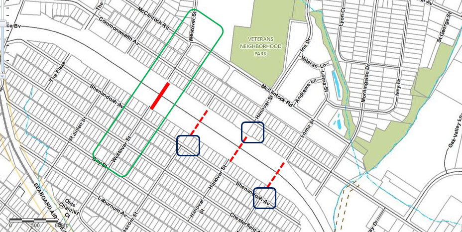 After:  potential location for bike/pedestrian bridge on Westover St. Create a bike/pedestrian bridge that shortens the biking/walking dsitance between Chantilly and Commonwealth Park/Plaza-Midwood (indicated by thick red line). Given its distance from Pecan Ave (.4miles) and Briar Creek Rd (.9 miles), this pedestrian connection would provide a shorter route that improves access between the neighborhoods and Veterans Park. Other locations that were studied (indicated by dashed red lines) are limited by narrow width of the right-of-way  This idea for pedestrian bridge was submitted by Scott Adams, a urban planner who resides and works in Charlotte. Check out Scott's blog:  http://citycentriccharlotte.blogspot.com/
