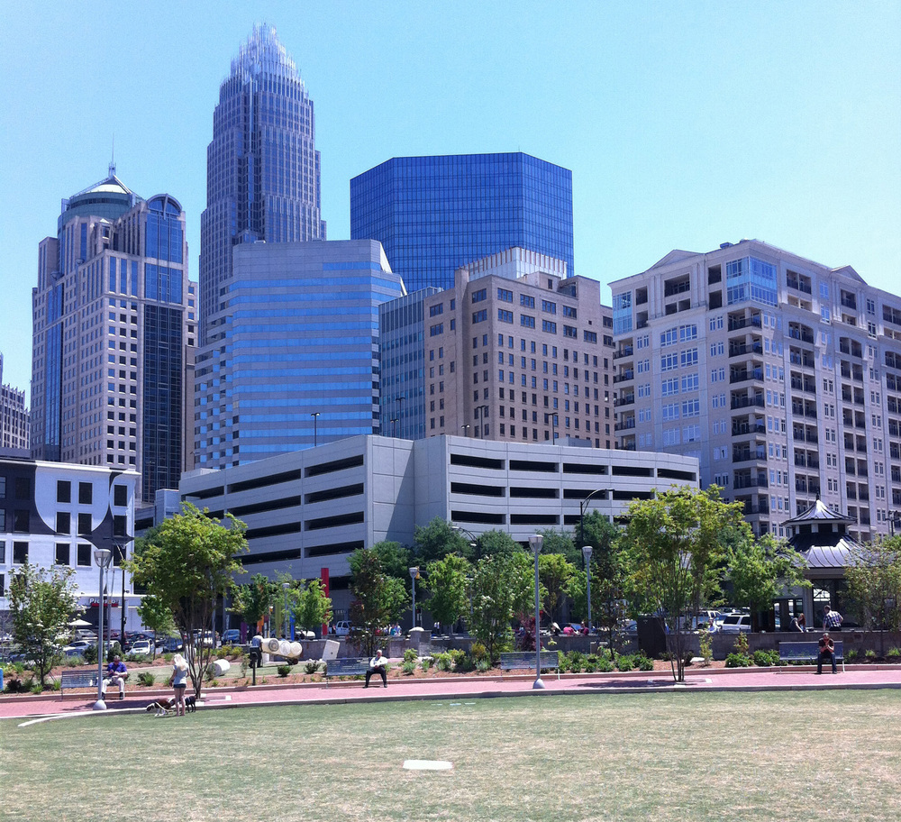 Before: Skyline view standing in Romare Bearden Park.
