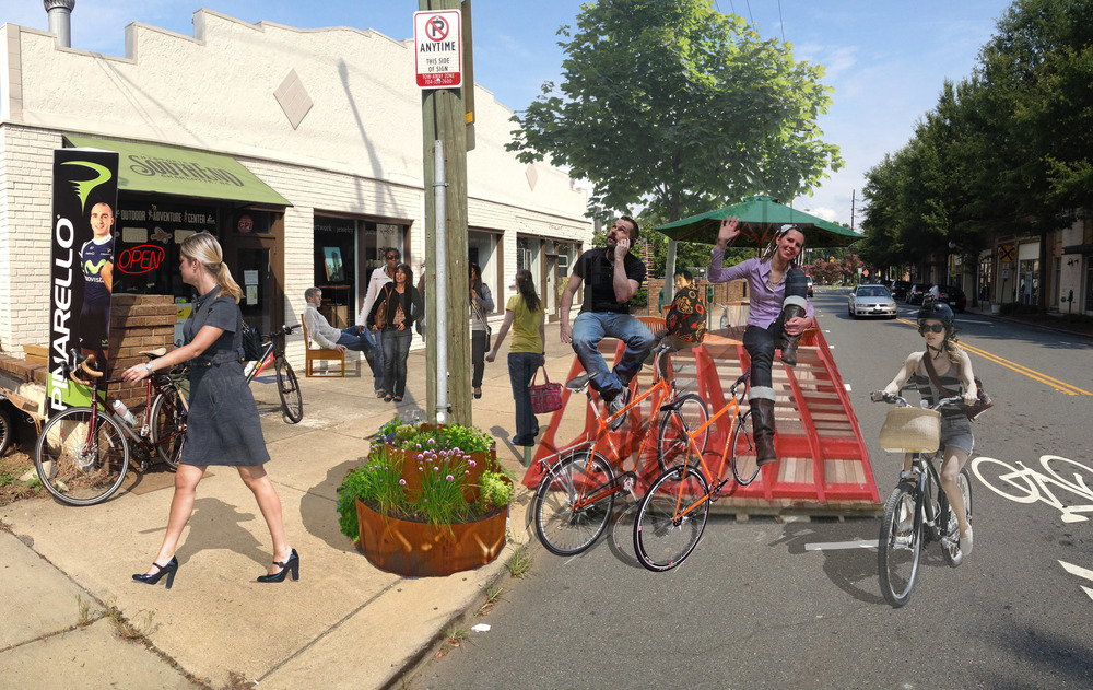 After: Put a parklet and bike corral on it!