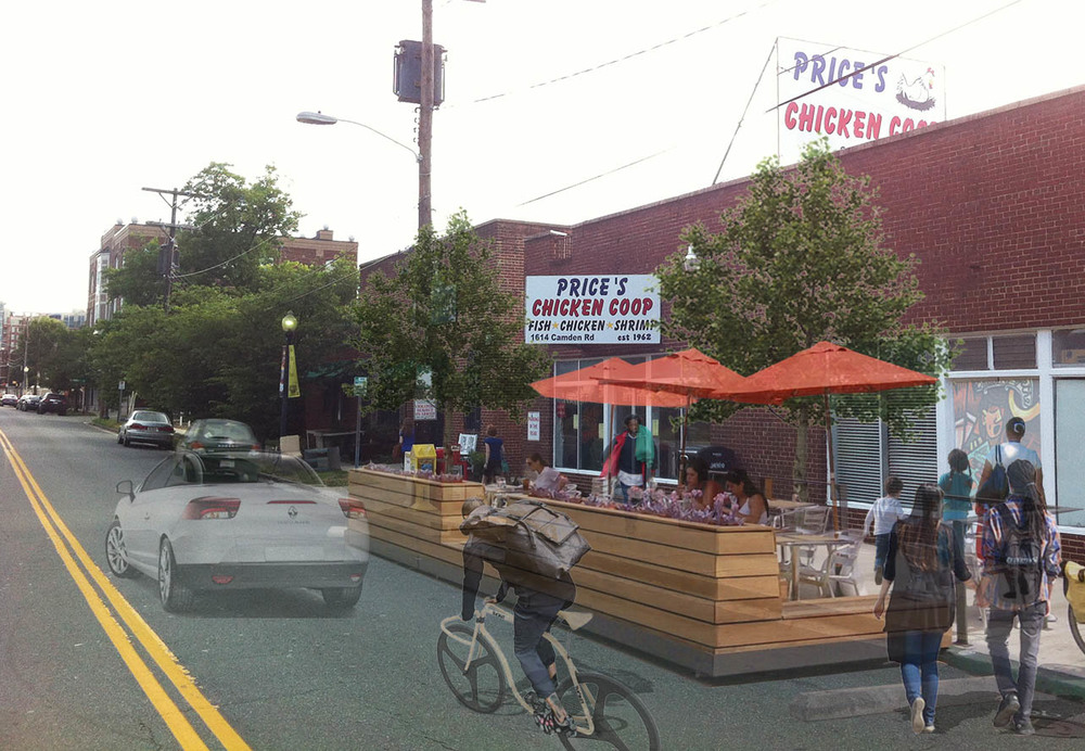 After:   Price's Chicken Coop's new parklet provides a much-needed seating for patrons and helps make the Camden Road an inviting place for pedestrians and cyclists.