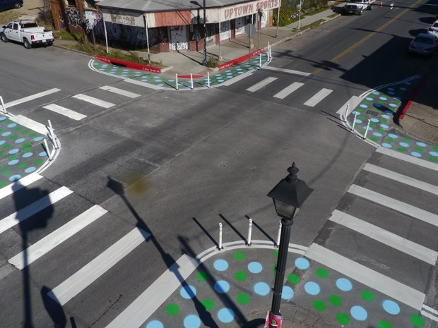 Giving space back to pedestrians in a colorful manner. Image courtesy of CityLab/City of Austin
