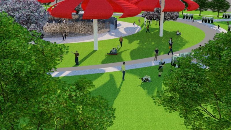 Proposed Park part 2: The proposed design still functions as a park with plenty of open space surrounding the station for recreation and relaxation. The walks remain in the same orientation with additions sidewalks and enhance green space with raised pre-cast concrete beds for activities.