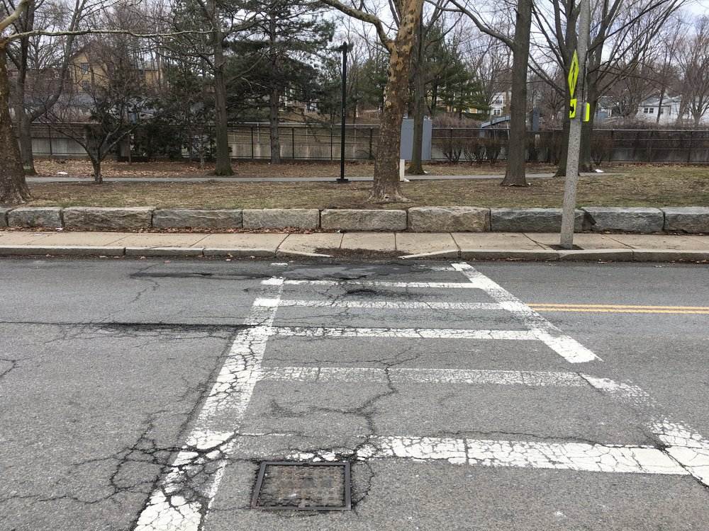 Existing:  Here's the state of the crosswalk today, about 35' to the right of the existing Southwest Corridor entrance. It needs to be repainted and we need to add another at the entrance!