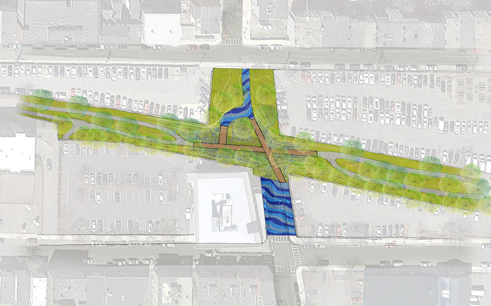 The Short Term Tactical Plan proposes a simple bridge spanning the flooding gap. Painted concrete frames the main entrances to the greenway and the ramps leading to the bridge mark the water levels.