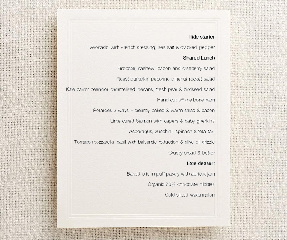 The long table menu - by   The Little Farmhouse Pantry