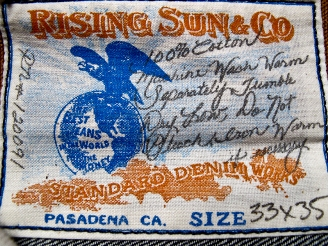 Rising Sun & Co. Organic Selvage Ride Em - BackPatch