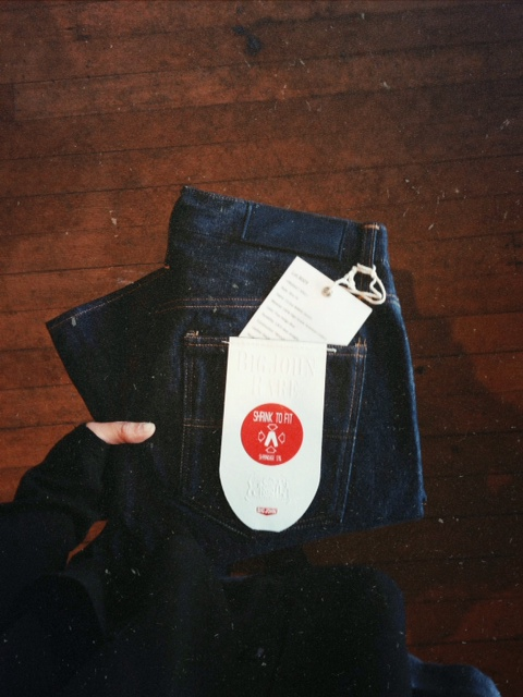 R009 Ransei Loomstate Denim. Slim Fit. 15.5oz American Cotton, Japanese made. These Shrink 9%. Tag Reads Durability: 1,825 days Straight.  To see how Ransei Denim fades please go to  http://bigjohn-jeans.com/pages/fade-rare  to see their previous batch R008.
