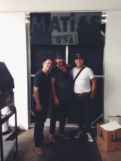 Howard, Matias, and Steve in front of Matias Denim Studio.