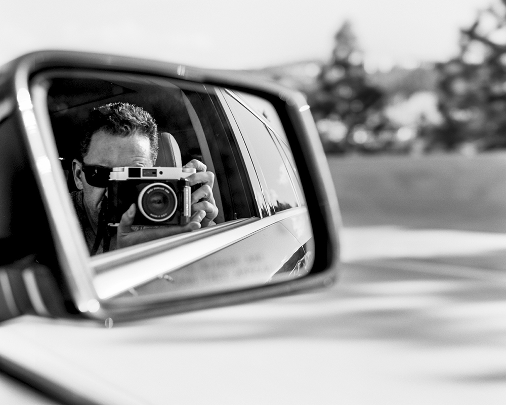 Self portrait on the road. Northern California. March 2014 {Scanned 120mm B&W film negative}.
