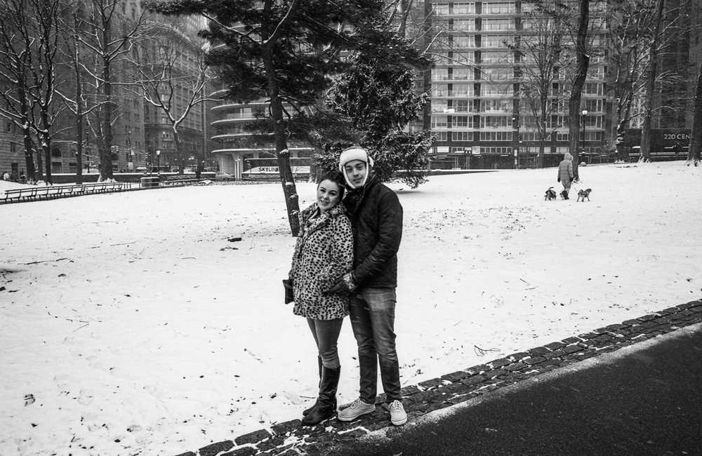 Unidentified Couple | New York, March 2016. Scanned B&W 35mm Film Negative.