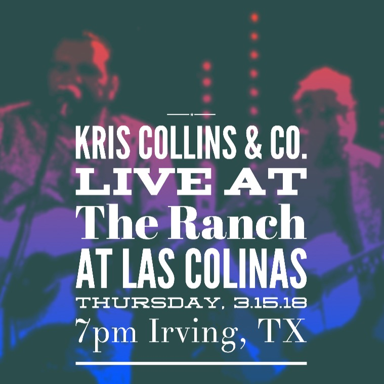 We're honored to be playing our first show at the Ranch at Las Colinas in Irving, TX this Thursday night! The Ranch is consistently ranked among the top places to eat in the DFW area. They also have a habit of bringing in some of the best artists from around the state. It's going to be a special night as we add Kris Collins & the Co. Men to that roster. We'll get started around 7 and go late so come on out and enjoy the cold beer, great food, and some solid Texas soul!