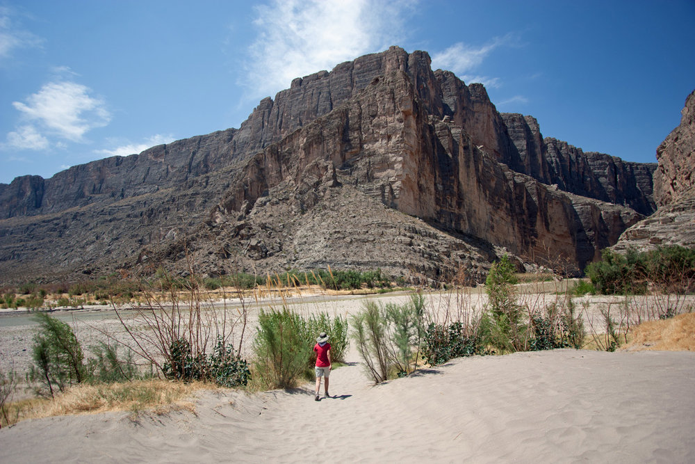 Terry trekking to the Santa Elena Canyon Trail along the Rio Grande...park visit  #22 .