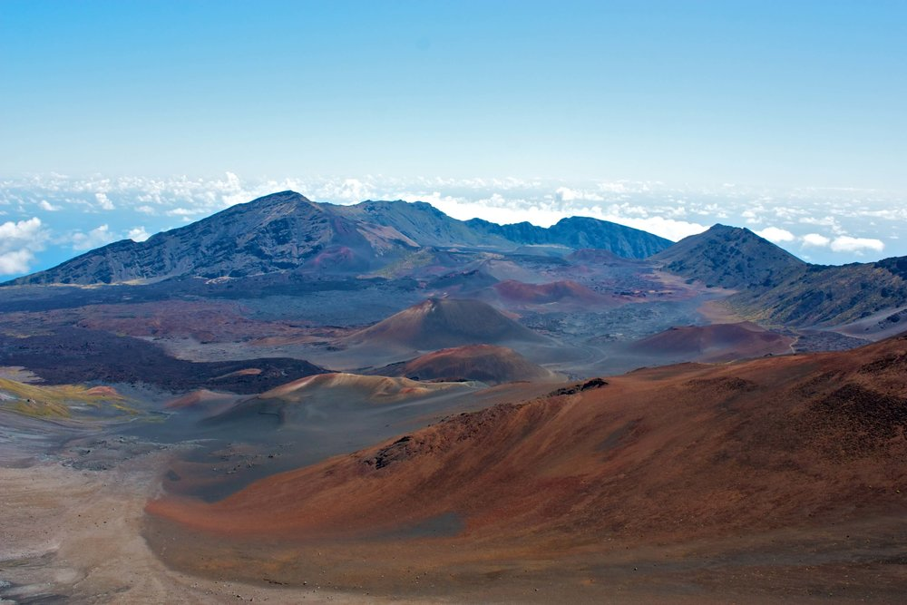 Colorfully rugged landscape of the Haleakala volcanic mountainside
