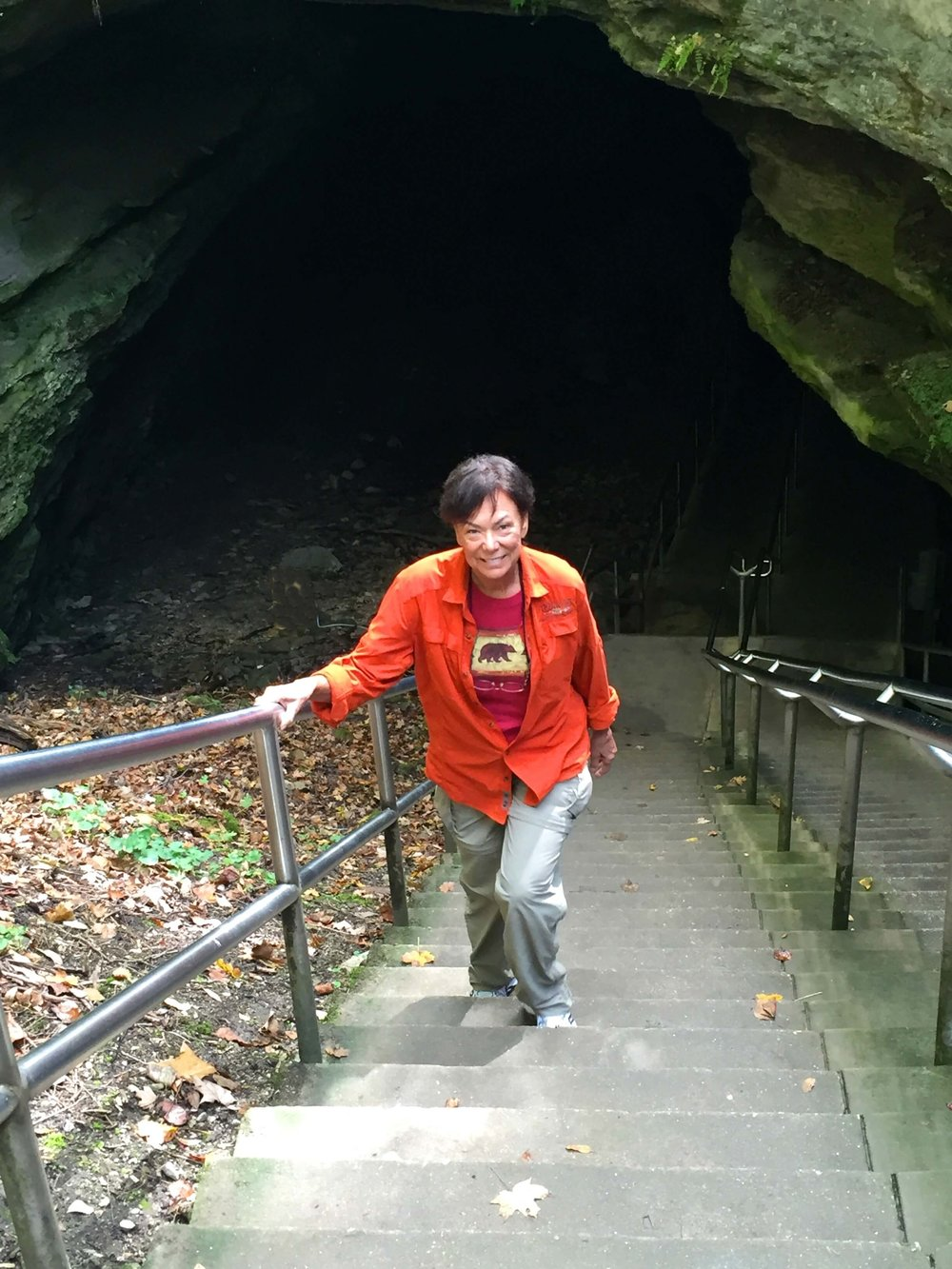 Terry trekking out of the depths of Mammoth Cave on our  52nd  park visit.