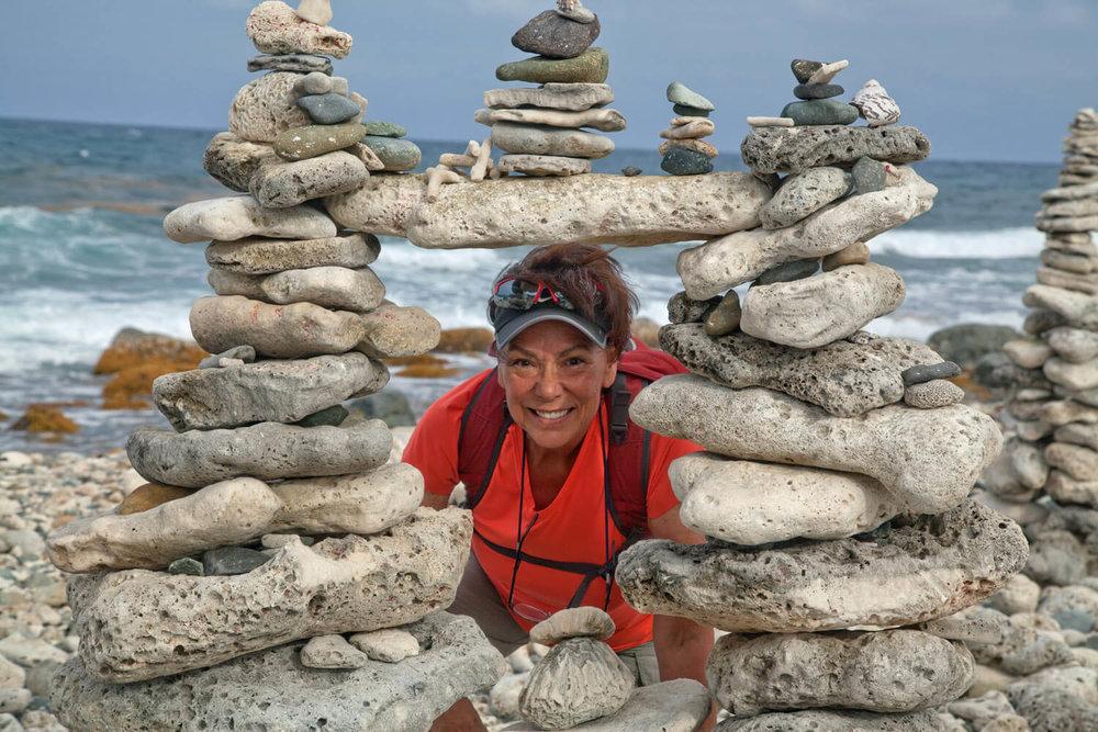 Terry framed by coastal rock art!
